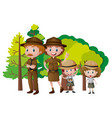 people in safari outfit in the forest vector image