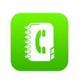 phone book icon green vector image