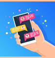 phone with online chat people chatting in vector image vector image