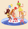 pool party colorful poster vector image vector image
