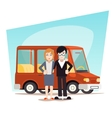 Retro Cartoon Family with Car Travel Van Icon vector image vector image