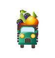 retro pickup front view with fresh farm fruits vector image