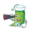 sailor with binocular peas mascot cartoon style vector image vector image