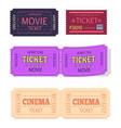 set movie cinema tickets admit one icons vector image vector image