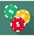 Set of casino gambling chips flat icons vector image vector image