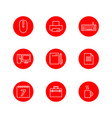 set of office outline red icon design vector image