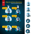 ship in various situations vector image vector image