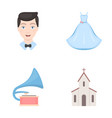 wedding dress groom gramophone church wedding vector image vector image