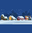 winter landscape cottage snow facade christmas vector image vector image