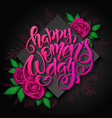 womens day card with lettering rhombus vector image vector image