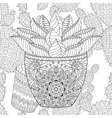 Zentangle Succulent on cactus seamless pattern vector image vector image