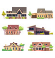 private residential cottage houses icons colored vector image