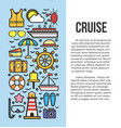 set of sea cruise cartoon style on blue and white vector image