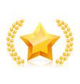 3d golden yellow star laurel wreaths branch vector image