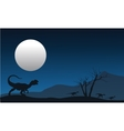 Silhouette of dilophosaurus with moon vector image