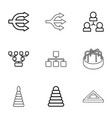 9 pyramid icons vector image vector image