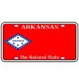 Arkansas state license plate vector image