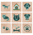 assembly flat shading style icons dog cats pets vector image vector image