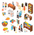 Atelier studio isometric icons set