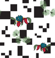 background with squares and flowers vector image vector image