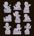 beautiful statue angel praying isolated marble vector image
