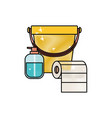 bucket and liquid soap and roll paper towel in vector image vector image