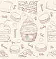 cakes and cookies seamless pattern in outline vector image vector image