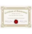 certificate of achievement with wax seal vector image vector image