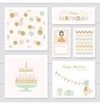 Cute cards with gold confetti glitter for girls vector image vector image