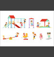 Cute cartoon little kids playing and having fun at