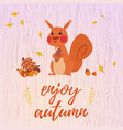 cute cartoon squirrel card vector image vector image
