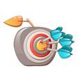 darts hit the apple icon cartoon style vector image