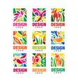 design lodo set labels with plants birds vector image
