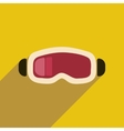 Flat web icon with long shadow ski goggles vector image vector image