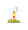 girl playing badminton young woman doing physical vector image