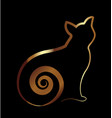gold cat silhouette on black background icon vector image vector image