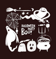 halloween banner template hand drawn on dark vector image vector image