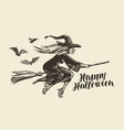 halloween greeting card old witch flies vector image