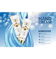 hand cream white gold tube on blue drop blurred vector image