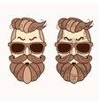 Hipster character with beard hair and glasses
