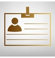 Id card sign Flat style icon vector image vector image