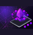 isometry icon blockchain ethereum crypto currency vector image