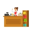 Librarian At Her Workplace With Bookshelves vector image