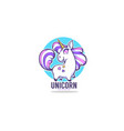 little cute unicorn for your label vector image