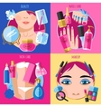 Makeup beauty 4 flat icons square vector image vector image