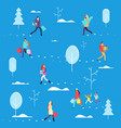 people on winter holiday person carrying shopping vector image vector image