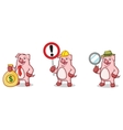 Pink Pig Mascot with money vector image