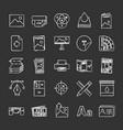 printing chalk icons set vector image