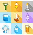 science equipment icons set flat style vector image vector image