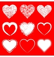 set doodle grunge hearts icons vector image